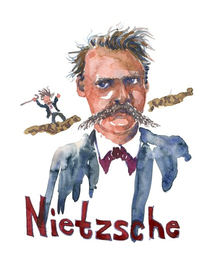 Nietzsche - Watercolor people portrait by Frits Ahlefeldt