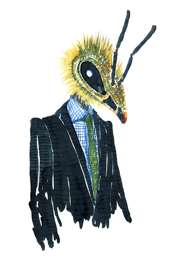 Watercolor of a bee dressed in a suit, Fashion watercolor painting of animal in suit by Frits Ahlefeldt
