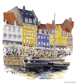 Copenhagen Watercolor painting by Frits Ahlefeldt