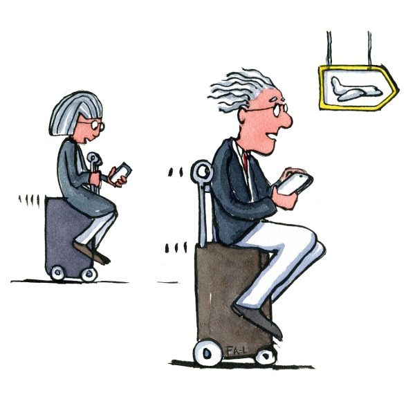 illustration of man and woman sitting on suitcase that is self driving. Drawing by Frits Ahlefeldt