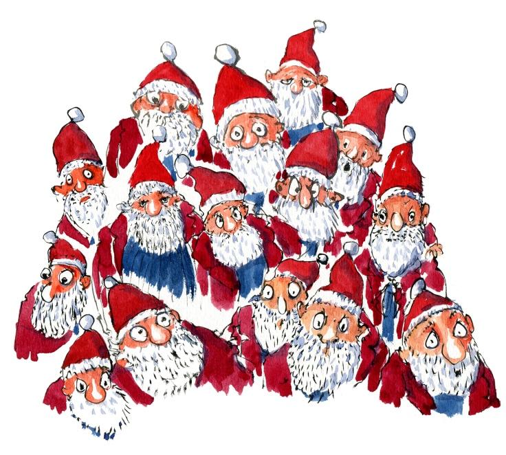 Group of Santa Claus guys