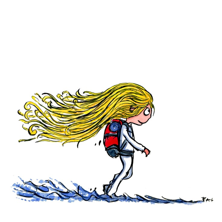 illustration of a blond girl hiking along the sea