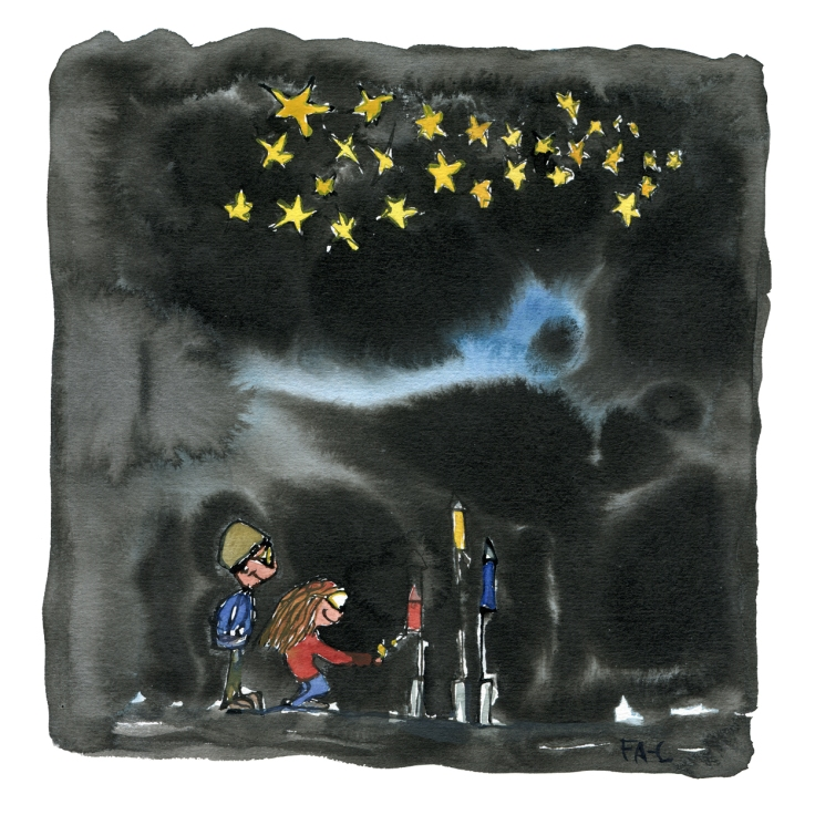 Two kids lightning fireworks on new year, drawing by Frits Ahlefeldt