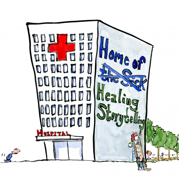 Drawing of people writing Healing Storytelling on the side of a hospital