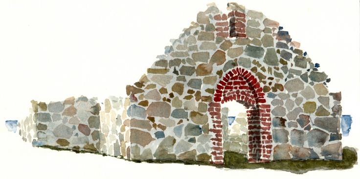 Ancient Chapel ruin Watercolor by Frits Ahlefeldt, Bornholm