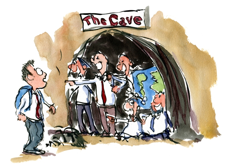 Drawing of a man walking by a cave with insiders