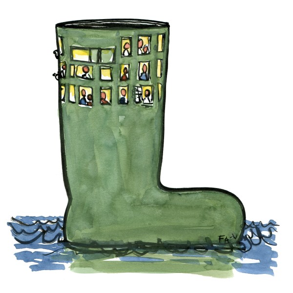 rubber boot house. Drawing by Frits Ahlefeldt