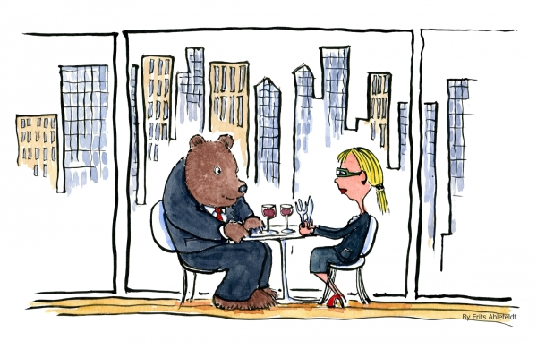 Bear and blond eating lunch at a city restaurant