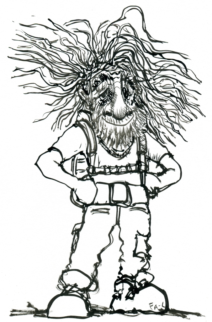 Ink drawing of an old hiker with crazy wild hair, and huge nose
