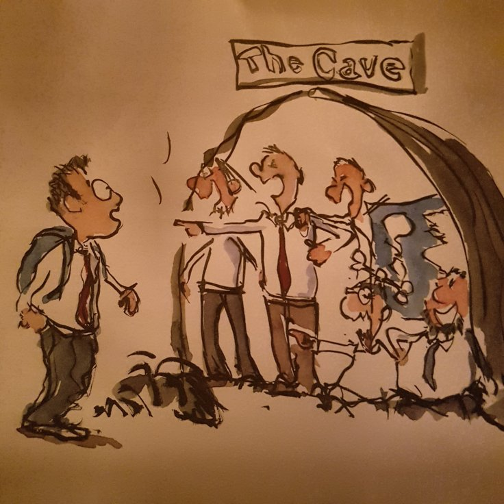 Drawing of a guy walking past a cave, where people watch and laugh at him