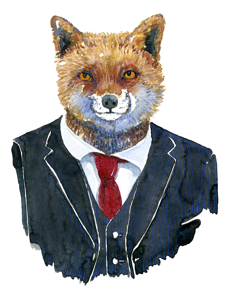 Fox in a blue suit. Fashion watercolor painting of animal in suit by Frits Ahlefeldt