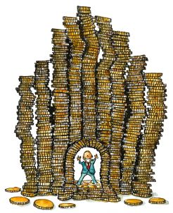 Drawing of a man surrounded by money