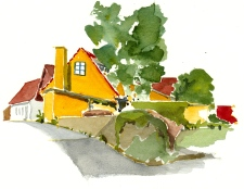 Small house, Sandvig, Bornholm. Watercolor