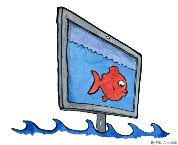Drawing of a fish on a monitor