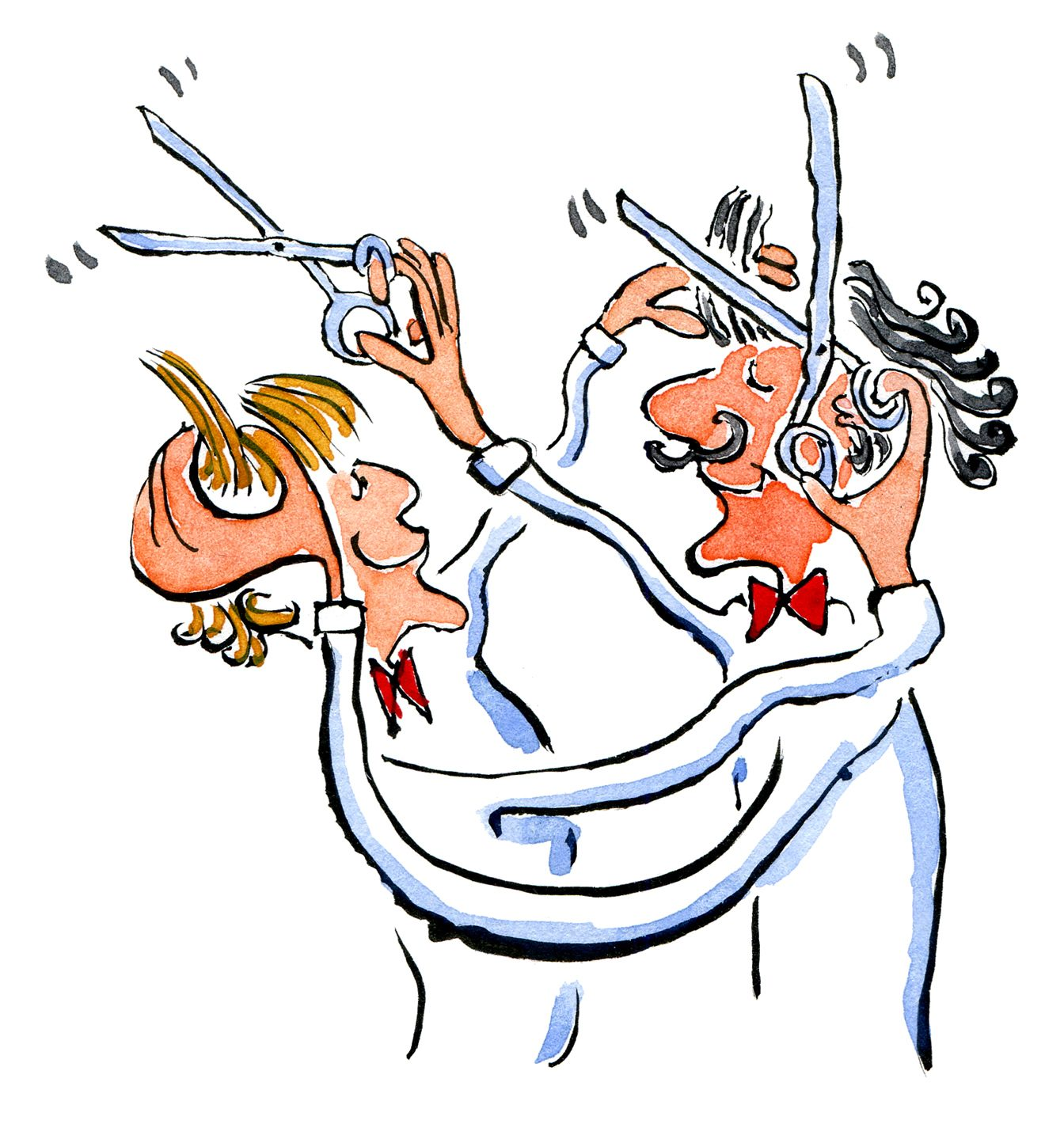 Drawing of two haircutters cutting each others hair, watercolor and ink
