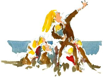 Woman with children protecting them. Watercolor people portrait by Frits Ahlefeldt