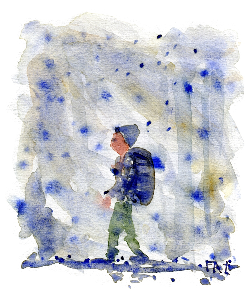 Hiker walking through the snow, by Frits Ahlefeldt, Watercolor