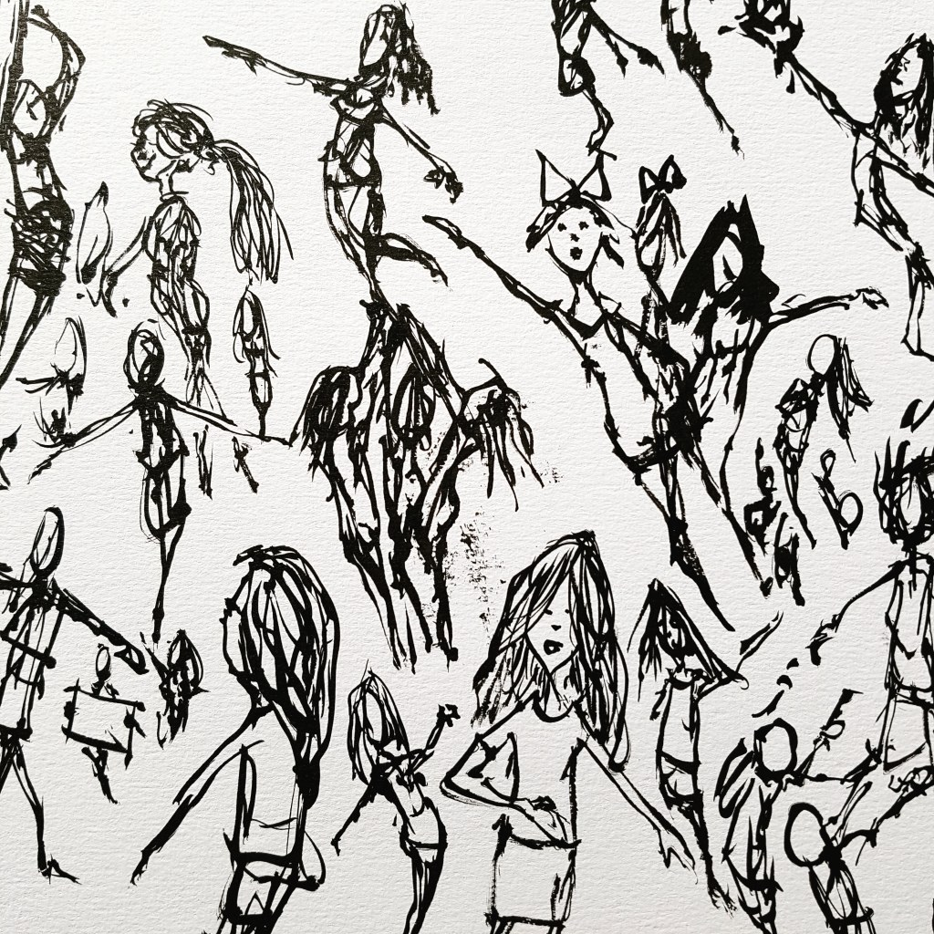 ink drawing from cheerleader event, drawing by frits Ahlefeldt