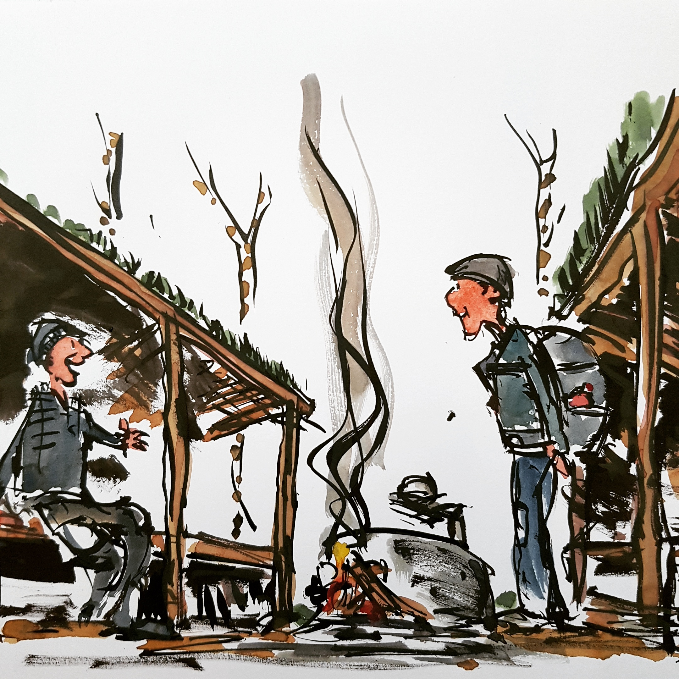 Two hikers at a shelter by the fire