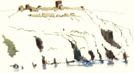 Hammershus, Bornholm, Denmark. Watercolor