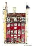 Torvegade, Watercolor from Christianshavn, Copenhagen, Denmark