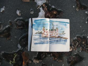 Frederiksborg Castle, on the frozen lake, fast sketch Moleskine Watercolor