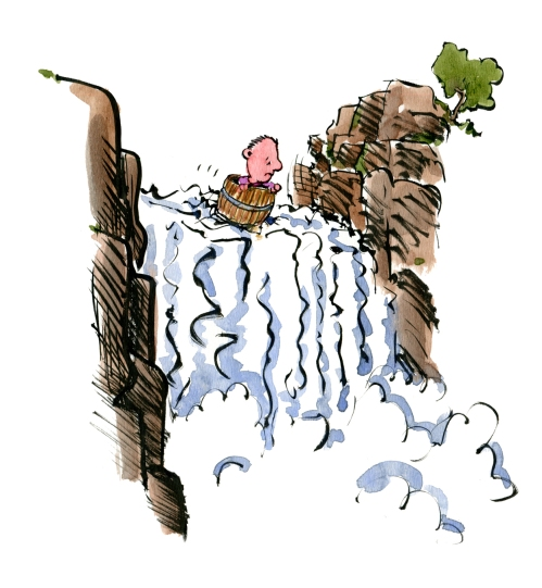 Man in a barrel heading out over a waterfall