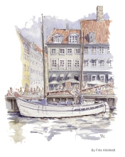 Blue white Copenhagen Watercolor painting by Frits Ahlefeldt, ship in Copenhagen,
