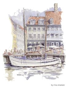Blue white Copenhagen Watercolor painting by Frits Ahlefeldt, ship in Copenhagen,