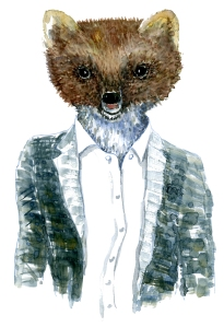 Pine Marten in clothing watercolor painting by Frits Ahlefeldt