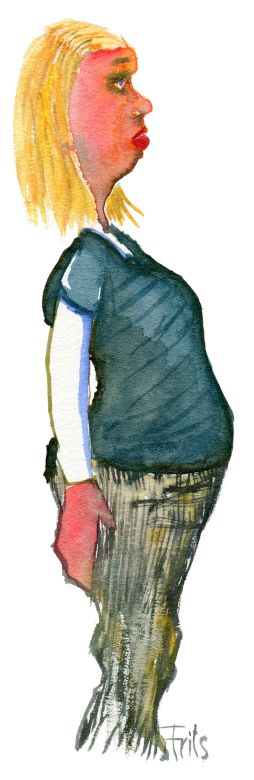 Young girl, standing straight. Watercolor