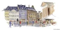 Gammel torv, København, Copenhagen Watercolor painting by Frits Ahlefeldt