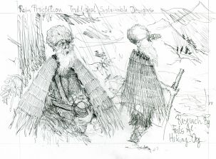 Ancient prehistoric man in eco rain garment Research sketch by Frits Ahlefeldt