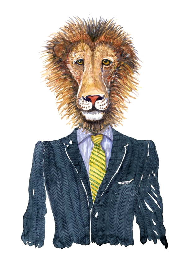 Watercolour of a lion in a suit