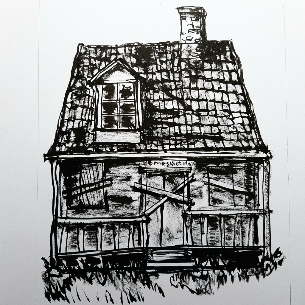 illustration of house deserted and closed, drawing by Frits Ahlefeldt