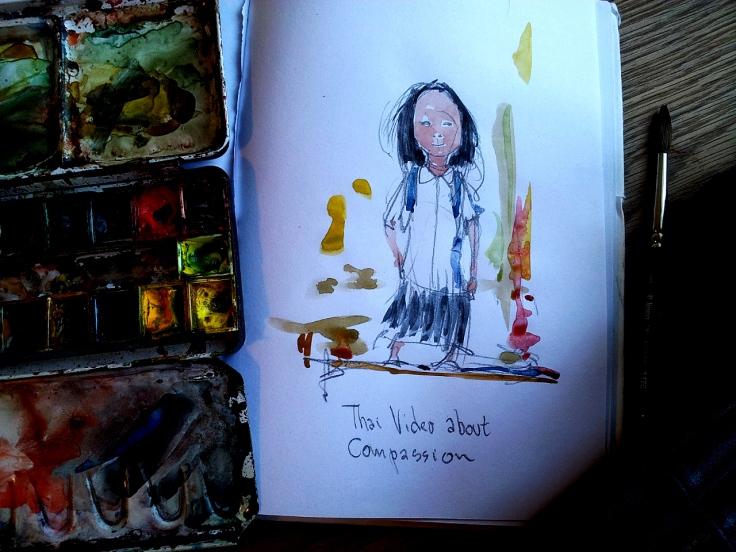 Sketch watercolor of little  girl