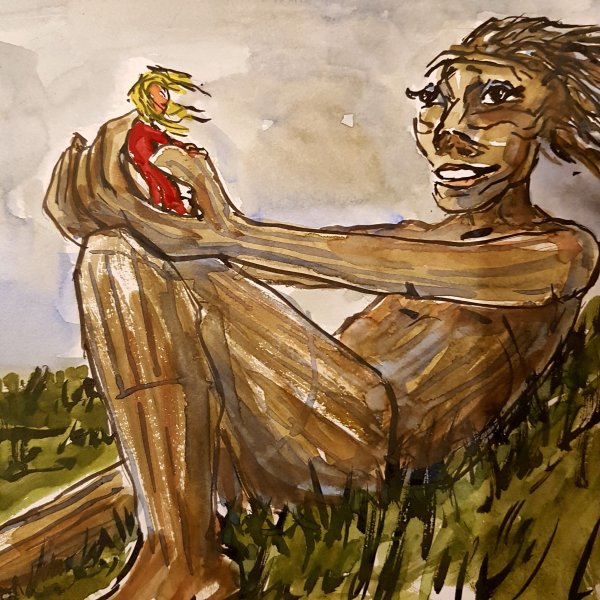 The wood sculpture Hilltop-trine - in copenhagen. drawing by Frits Ahlefeldt, sculpture by Thomas Dambo