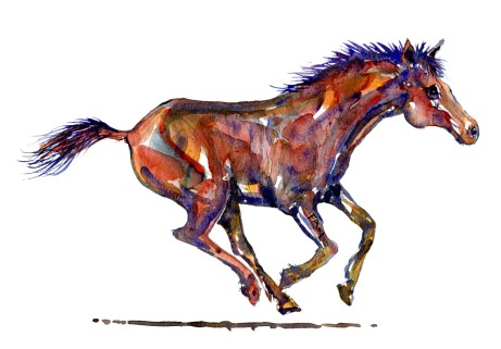 Running horse painting. Watercolor by Frits Ahlefeldt