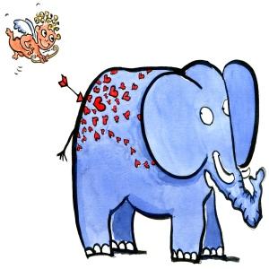 Elephant hit by love arrow illustration