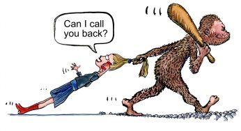 prehistoric man dragging of technology woman