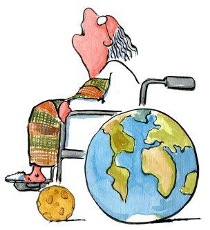 Scientist in earth wheelchair