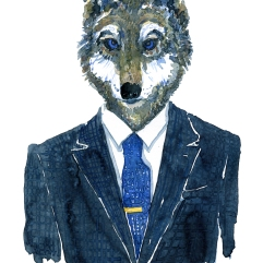 Wolf Man with blue eyes,Fashion watercolor painting of animal in suit by Frits Ahlefeldt