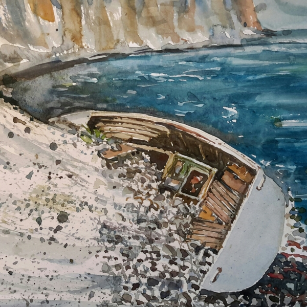 Watercolour of a stranded boat