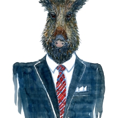 Wild Boar in clothingFashion watercolor painting of animal in suit by Frits Ahlefeldt