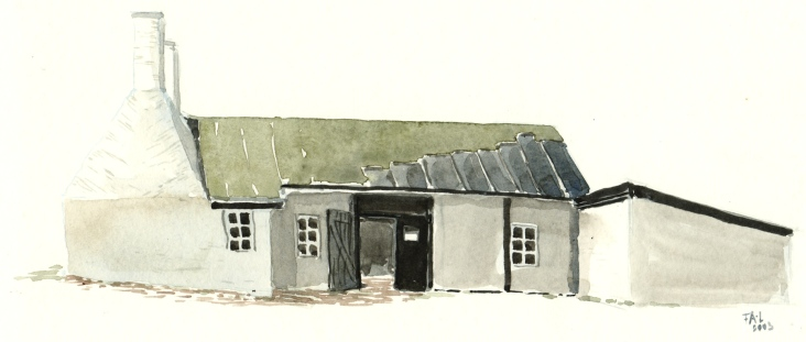 Smokehouse for herring, Hasle, Bornholm, Denmark. Watercolor