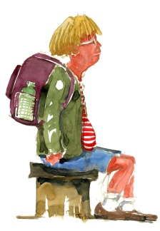 Watercolor of man, sitting, streets of Copenhagen, Denmark