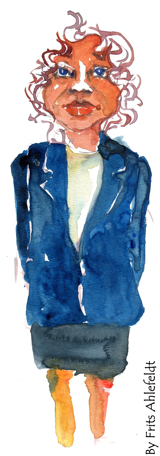 Grey hair. Businesswoman. Watercolor