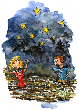 Drawing of a man and woman in the mud, woman looking at the stars drawing