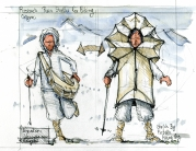 Raincoat design sketch by Frits Ahlefeldt