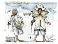 Raincoat design sketch by Frits Ahlefeldt